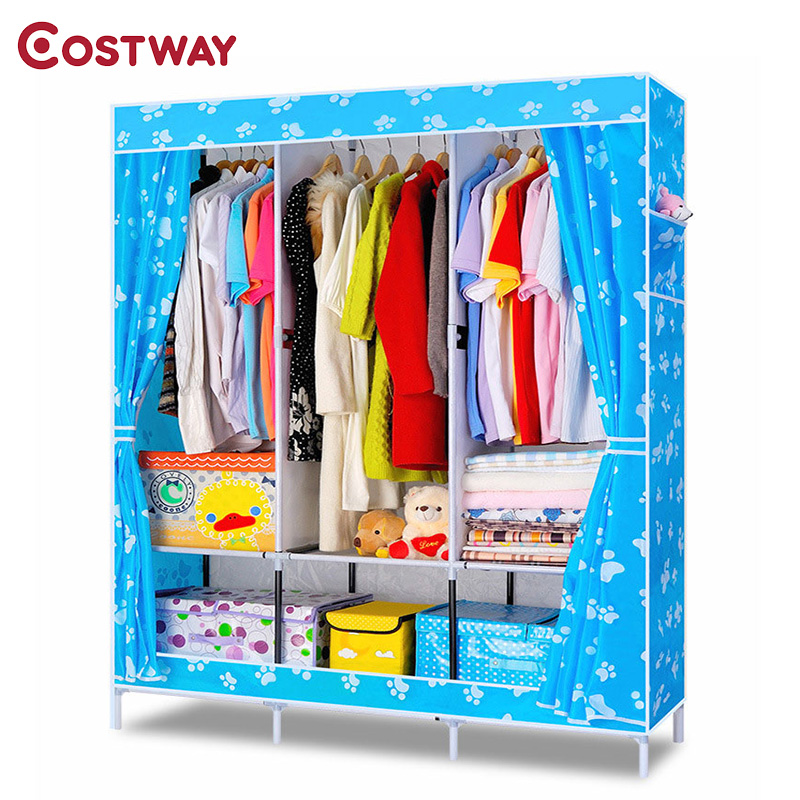 COSTWAY Bedroom Oxford Cloth Wardrobes Cloth Storage Saving Space Locker Closet Sundries Dustproof Storage Cabinet W0100 simple fashion moistureproof sealing thick oxford fabric cloth wardrobe rustproof steel pipe closet 133d