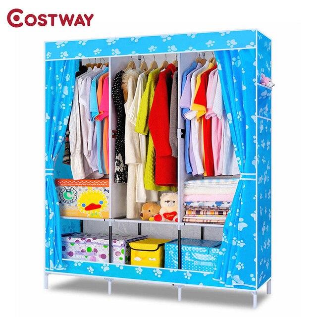 COSTWAY Bedroom Oxford Cloth Wardrobes Cloth Storage Saving Space Locker  Closet Sundries Dustproof Storage Cabinet W01000