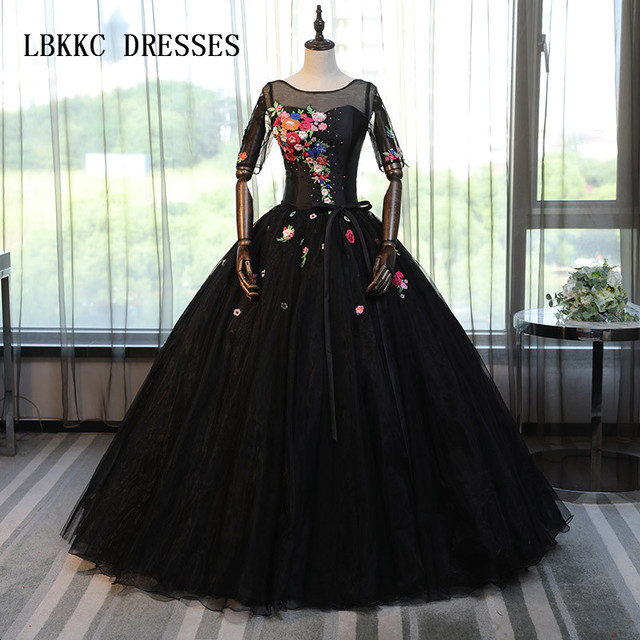 172ef436d9694 US $122.18 18% OFF|black Quinceanera Dresses Long Sleeves Tulle Masquerade  Sweet 16 Dresses Ball Gowns Vestidos De 15 Anos-in Quinceanera Dresses from  ...