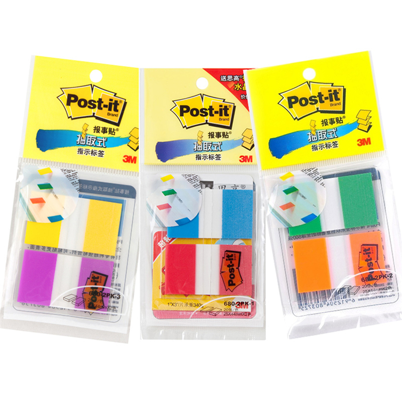 3M Post-it Indication Label 20*2 Pages Per Pack 2 Color Mixed 25mm*44mm Index Labels Classification Notes Sample Price