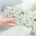 Vintage Floral Print Money Bags Embragues Monedero Cremallera de La Borla de Las Mujeres Titular de la Tarjeta Monedero Largo Carpeta de Las Mujeres
