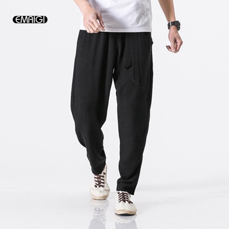 Jogger Sweatpants Loose Cotton Linen Male Men's Plus-Size 5-Colors Comfort Casual M-5XL