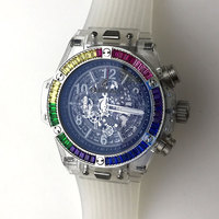 42MM chronograph watch Japanese quartz movement men's rainbow bezel no second resin acrylic shell transparent back cover 1217 2