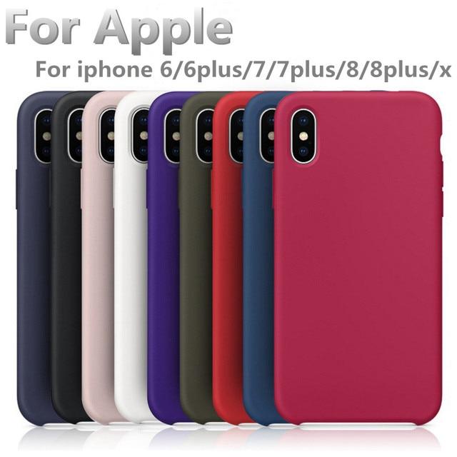Con el logotipo oficial líquido silicona caucho suave cojín de microfibra teléfono caso para el Iphone 6 6 más 7 8 7 más 8 más x envío rápido
