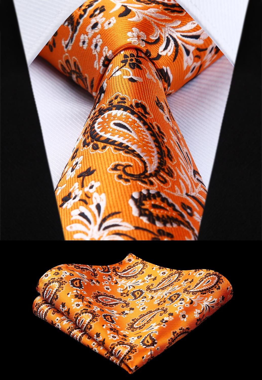 Party Wedding Classic Pocket Square Tie Woven Men Tie Orange White Flower Necktie Handkerchief Set# TF3007D8S