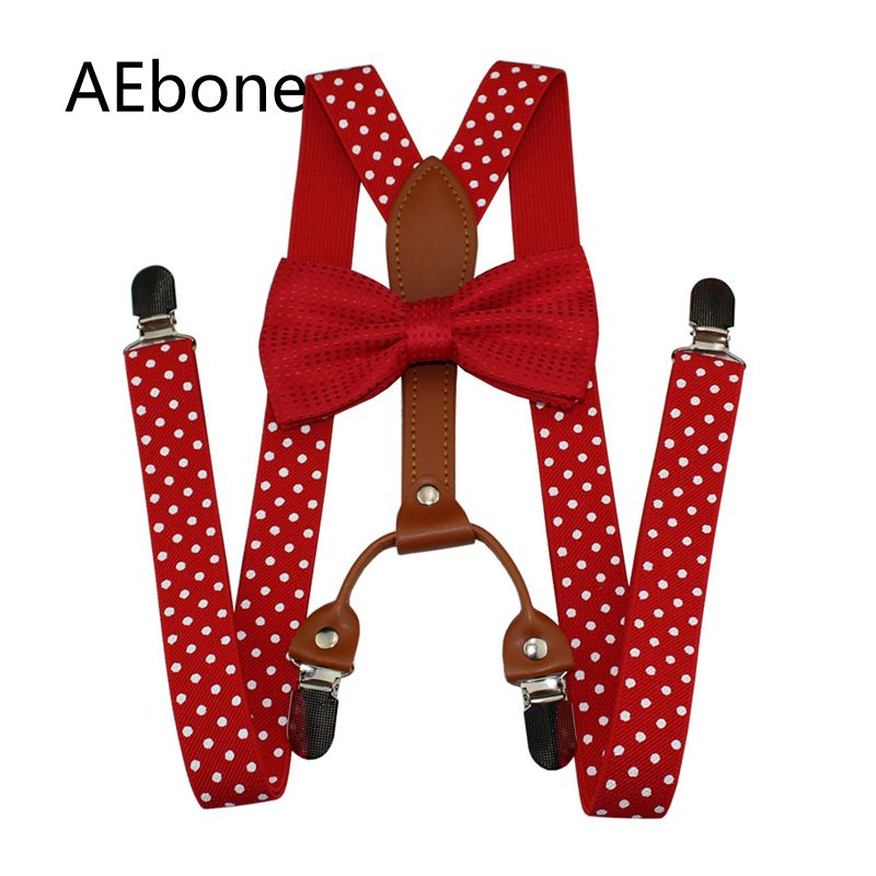 AEbone Women Men Suspenders And Bow Tie Sets Navy Red Dot Suspenders With 4 Clip Bretelles Adultes Tirantes Mujer 110cm Sus39