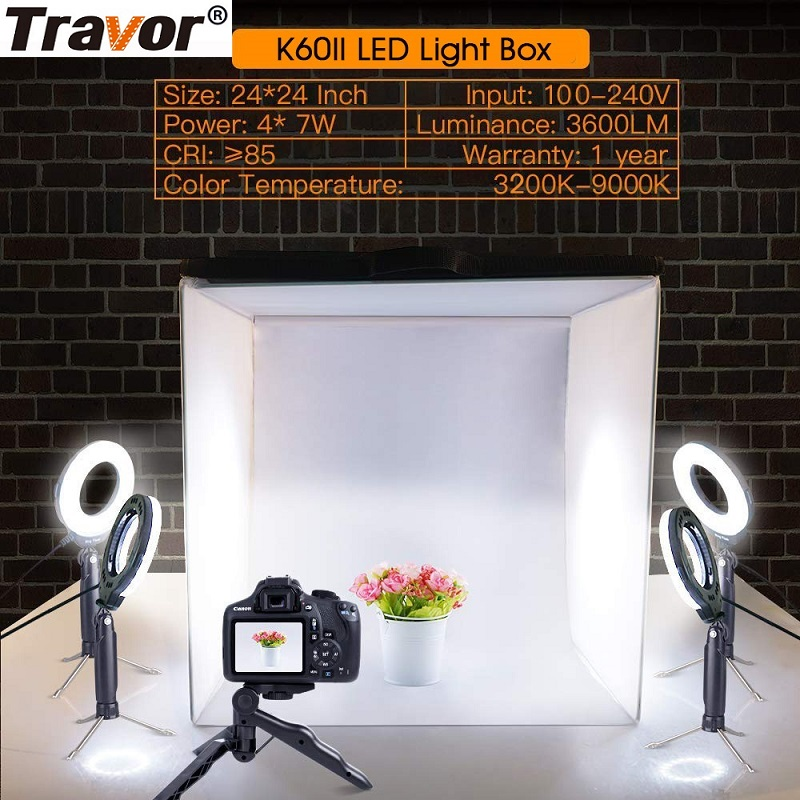 Travor Foldable Light Box Studio Softbox 60*60CM With 4PCS LED Ring Light/5PCS MiniTripod For Camera Phone Photography Lightbox