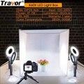 Travor Faltbare Licht Box Studio Softbox 60*60CM Mit 4PCS LED Ring Licht/5 PCS MiniTripod für Kamera Telefon Fotografie Leuchtkasten-in Tisch-Fotografie aus Verbraucherelektronik bei