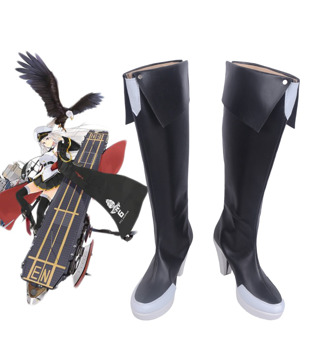 Enterprise Cosplay Boots Azur Lane USS Enterprise Cosplay Boots Black Shoes Custom Made