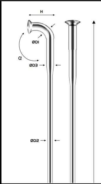 4 Reinforced Black Spokes 294 mm 2,2x1,8x2,0 mm Pillar Spokes TB 2018