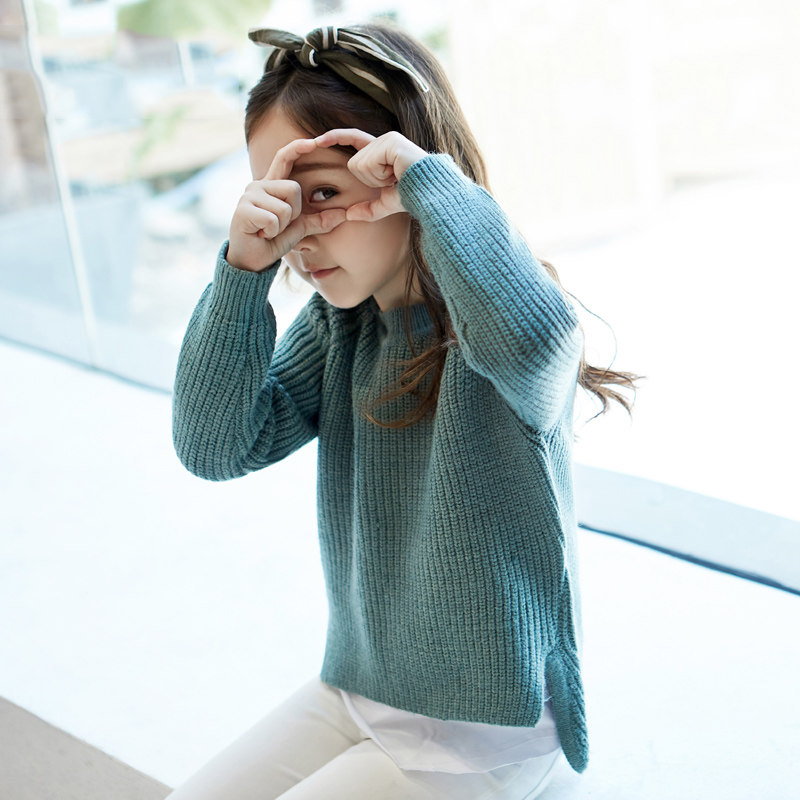 2017 Woolen Sweater for Baby Girls Fashion Color Loose Design Mustard Brown Teal Fall Cloth Shcool Kids 56789 10 11 12 Years Old
