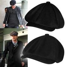 Woolen newspaper cap octagonal cap men's British retro beret, ladies coffee Brit