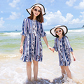 New 2017 sleeve mother daughter dresse Family Matching clothes print Mom and daughter dress Family look outfits