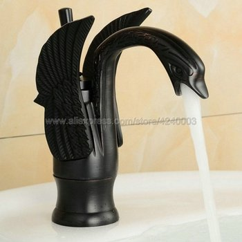 Oil Rubbed Bronze Swan Shape Black  Brass Basin Sink Faucet Bathroom Single Hole Centerset Basin Mixer Tap Swan Faucet Knf030 oil rubbed bronze single lever handle bathroom sink basin bathtub faucet mixer tap set with hand shower atf029