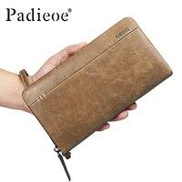 Padieoe модные корейские мужские пояса из натуральной кожи клатч кошелек на молнии с карман для телефона держатель для карт 2018 для мужчин длинн