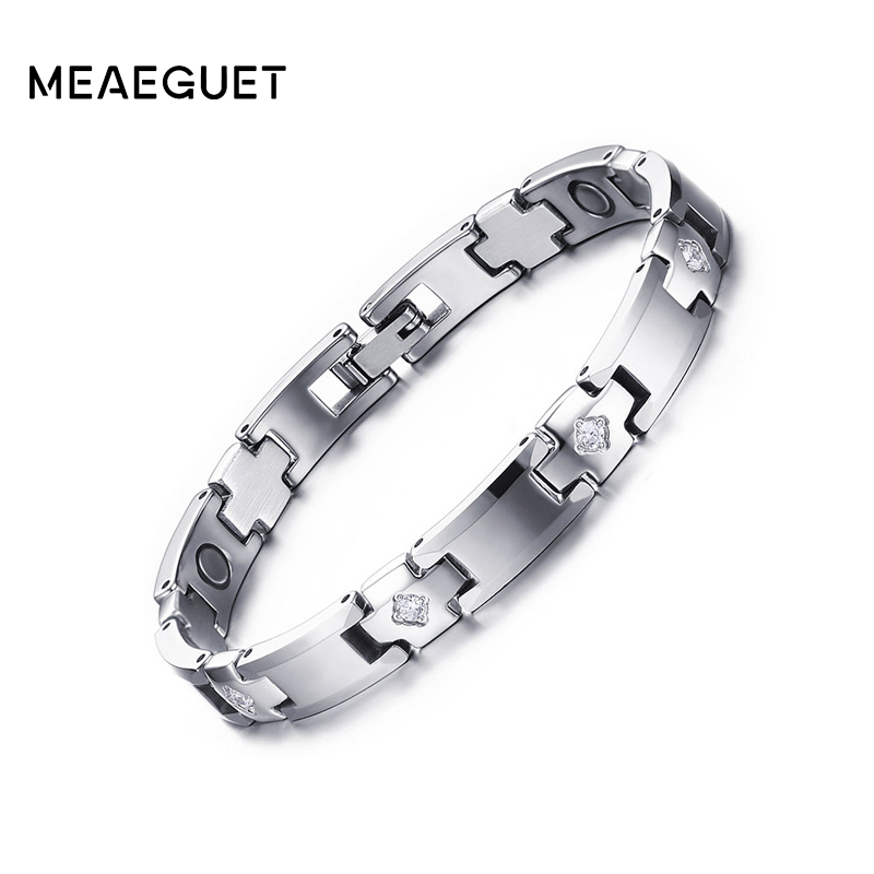Meaeguet Women CZ Stone Bio Magnetic Health Bracelet Tungsten Steel Chain Sports Golf Bangles Jewelry