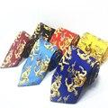 De China de La Mascota Dragón Corbata Corbata para Los Hombres 10 cm Animales 2017 Nuevo diseñador Nacional Chino Hombre Corbata Corbata Azul Rojo Amarillo Grande