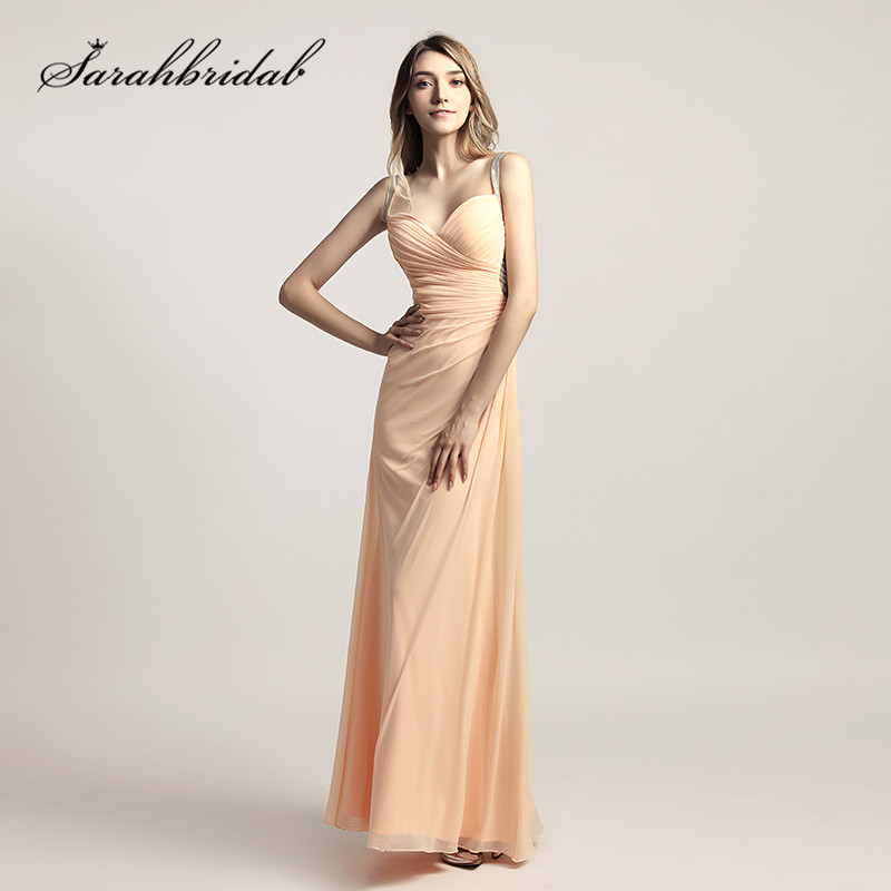 Cheap Peach Prom Dresses 2018 Sexy Backless Beading Crystals Long