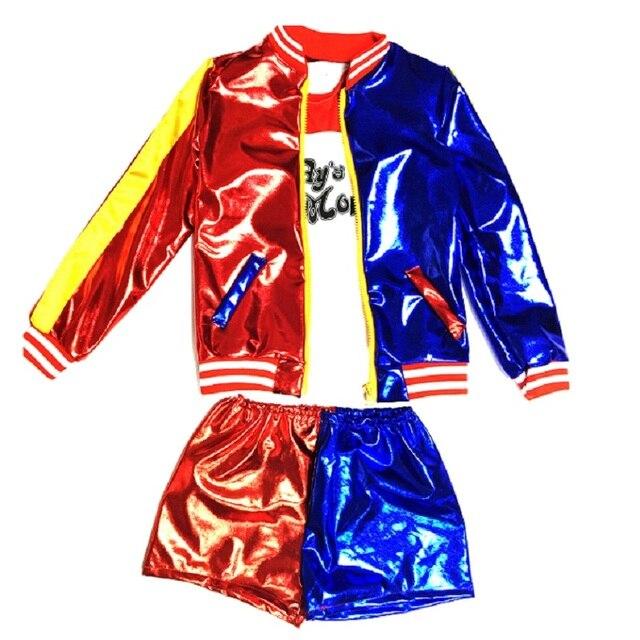 Classic joker e harley quinn costume giacca per le ragazze vestito di halloween  per bambini suicide 1904b80be2f