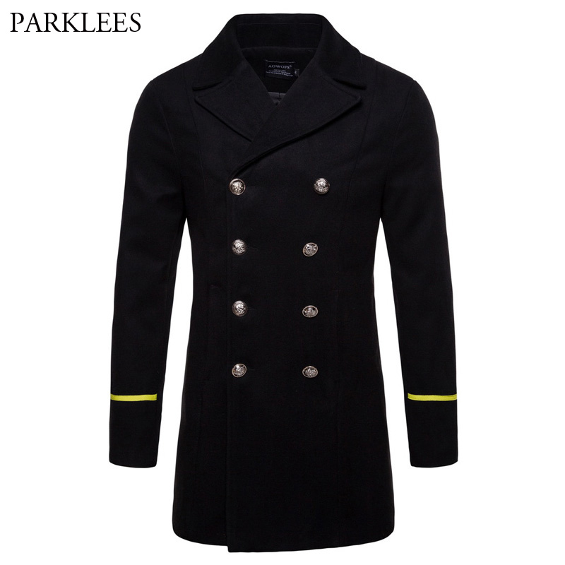 Classic Double Breasted Pea Coat Men 2018 Brand New Mens Winter Long Trench Coats Slim Fit Fashion Overcoat Jacket Manteau Homme
