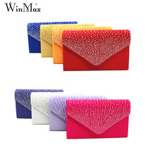 Winmax Fashion Women Evening party Bags Ladies Rhinestone Diamonds Daily Clutches Female Silver Chain Hasp Party Hand Phone Bags