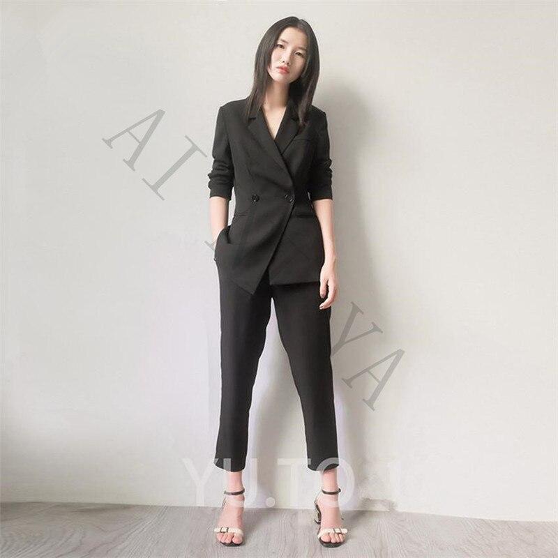 449785266b Casaco + Calças Mulheres Ternos de Negócio Preto Formal Uniforme Feminino  Escritório Senhoras Calças Terno Double
