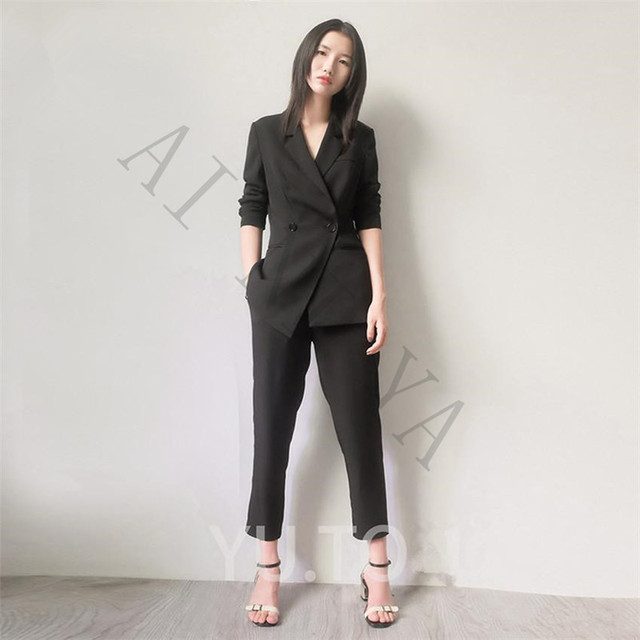 4a090d229c5 Jacket+Pants Womens Business Suits Black Female Office Uniform Formal Ladies  Trouser Suit Double Breasted Prom Party 2 Piece
