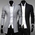 Homens Trench Coat Homens Cinza Preto Estilo coreano Jaquetas Casuais para Homens Turn-Down Collar Cardigan Mens Casaco 2016 Outono Nova Q830