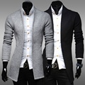Korean Men Trench Coat Gray Black Men Style Casual Jackets For Men Turn-Down Collar Cardigan Mens Overcoat 2016 New Autumn Q830