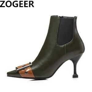 Image 1 - 패션 블랙 그린 부츠 여자 유럽 버클 발목 부츠 섹시한 하이힐 빈티지 pu 가죽 레이디 신발 대형 사이즈