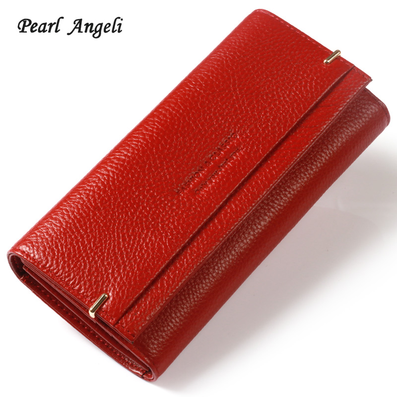 Pearl Angeli 2018 High Quality Rfid Genuine Cow Leather Letter Hasp Women Wallet Female Purse Clutch Wallet Portefeuille Femme ...