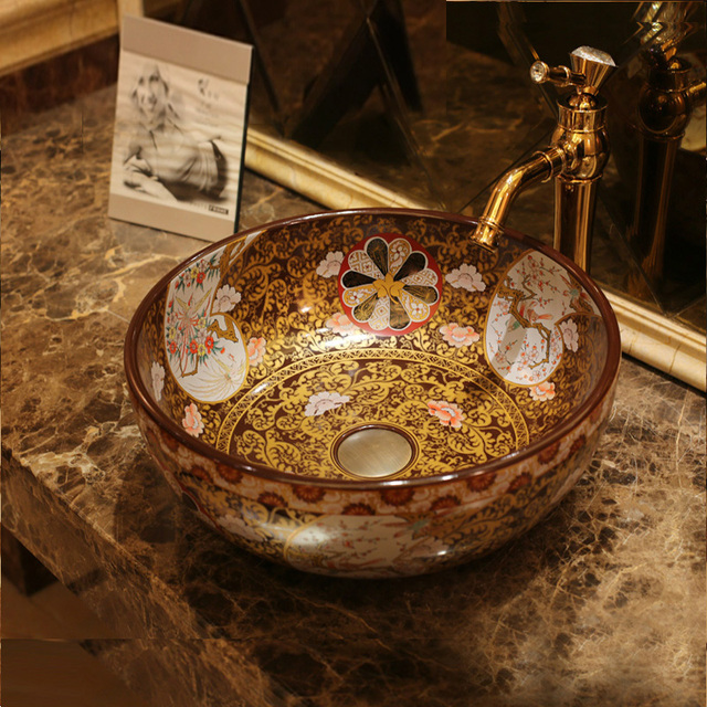 Europe Vintage Style Art Porcelain Countertop Basin Sink Ceramic