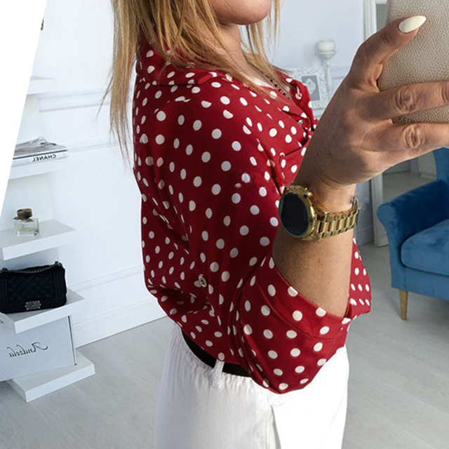 GUMPRUN Blusas Mujer De Moda 2019 Women Tops Blouses Plus Size Dot Print Button Lapel Loose Summer Casual Office Ladies Shirt