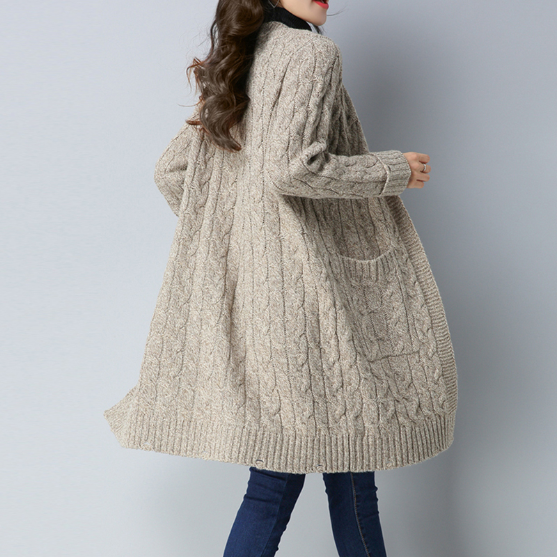Women Sweater Long Cardigan outerwear 2018 New Fashion Autumn Winter Long Sleeve Loose Knitted Cardigan female