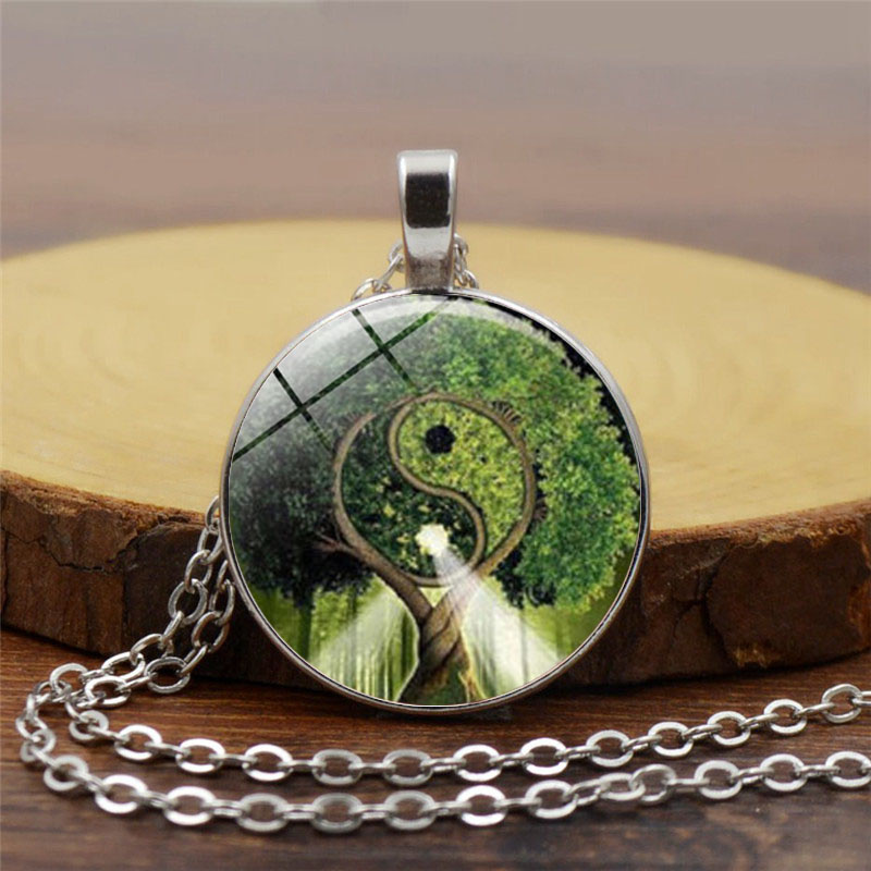 1pcslot Vintage Yin Yang Lovers Kitty Cats Necklace Pendant Kolye Cabochon Black Long Chain Statement Necklace For Woman