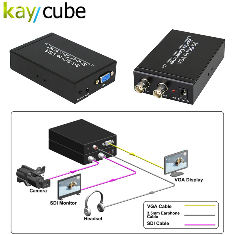 Kaycube SDI To VGA Scaler Converter Allows SD-SDI, HD-SDI And 3G-SDI Signals To Be Simultaneous Display On VGA /SDI lkv364 sdi to bnc repeater 1080p 720p sd sdi hd sdi 3g sdi distribute to 2 simultaneous sdi outputs sdi converter splitter