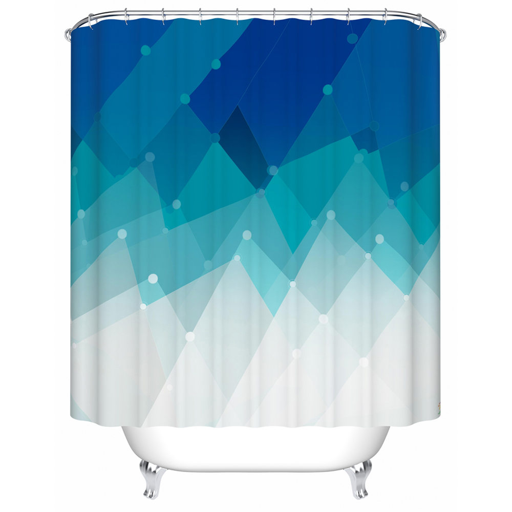 Solid teal shower curtain - Charming Gradient Color Blue Shower Curtain Starry Decor Bath Shower Waterproof And Fabric Washable With Hooks