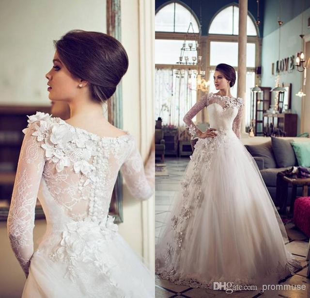 Vestido de Princesa de Encaje Balón vestido de Boda de la vendimia 2016 Dubai Musulmán Árabe Flores Hechas A Mano Con Mangas Largas vestido de Novia Largo WB21