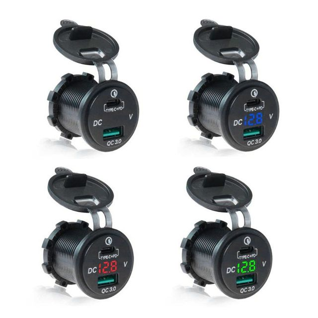 Waterproof 12V 24V Type C PD QC 3.0 USB Car Charger LED Voltmeter Power Adapter For Smart Phone Tablet Boat Motorcycle New