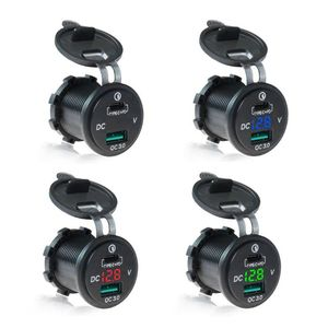 Image 1 - À prova dwaterproof água 12 v 24 v tipo c pd qc 3.0 usb carregador de carro led voltímetro adaptador de energia para telefone inteligente tablet barco motocicleta nova
