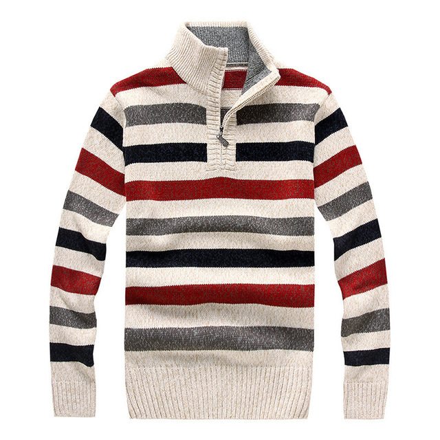 Winter Striped Sweater Men Brand Pullover 2015 Fashion Long Sleeve
