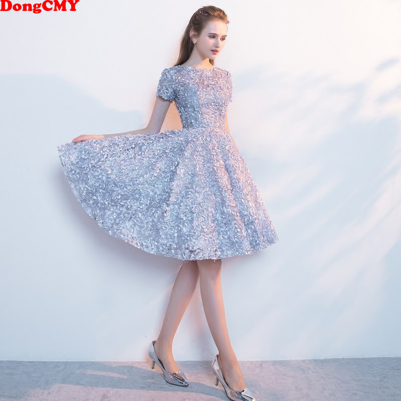 DongCMY New Short Sexy Flower Cocktail Dresses Sleeve Dinner Elegant Vestido Gowns