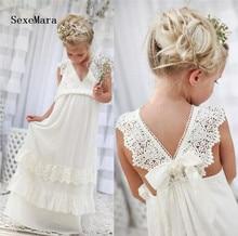 New Boho Long Flower Girls Dresses For Weddings V Neck Lace Applique Little Dress Special Occasion for