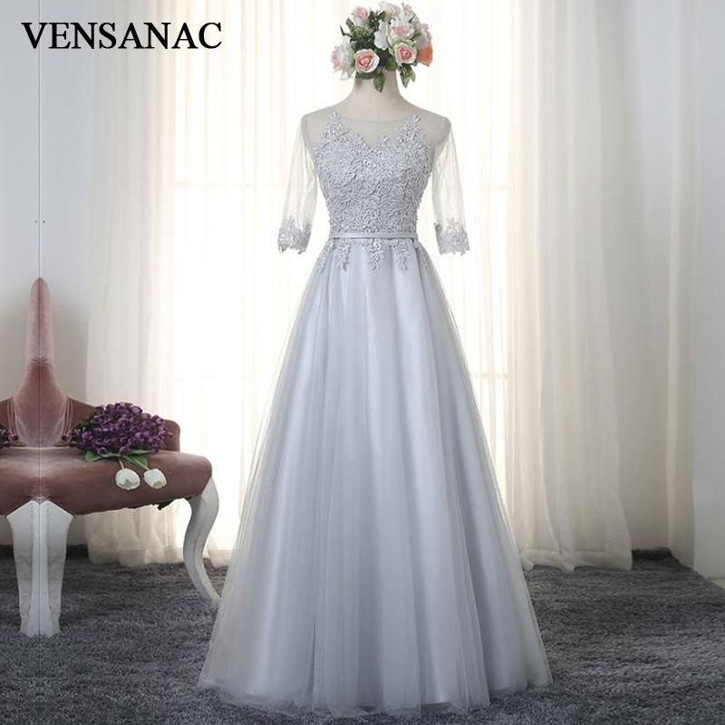 VENSANAC 2017 Нові лінії вишивки O шия довгі вечірні сукні Елегантна половина рукав Sash Lace Party Prom плаття