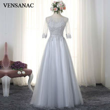 VENSANAC 2017 New A Line Embroidery O Neck Long Evening Dresses Elegant Half Sleeve Sash Lace Party Prom Gowns