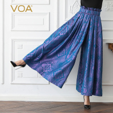 VOA Silk Women Wide Leg Palazzo Pants Purple Long Trousers High Waist Plus Size 5XL Loose Jacquard Vintage Casual Spring K535 s 5xl vintage long pant women 2019 celmia female high waist wide leg pants trouser casual loose pantalon plus size solid palazzo
