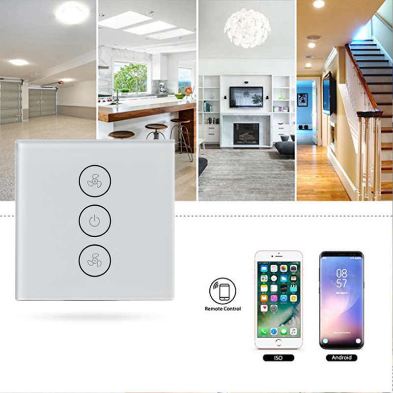 W wielkiej brytanii Broadlink bezprzewodowe wentylator sufitowy przełącznik prędkości, światła przełącznik ekranu dotykowego panelu Alexa automatyki inteligentnego domu do telefonu Android IOS