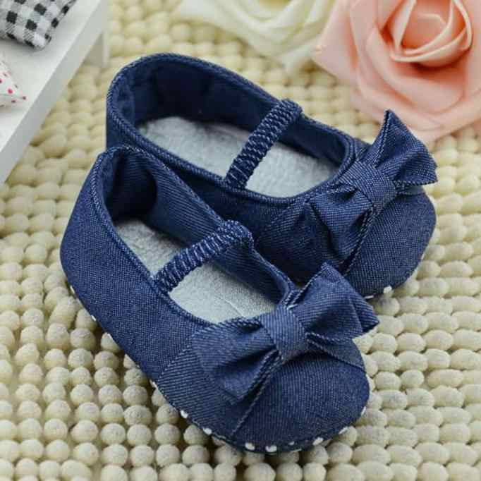 Newbown Baby Bowknot Denim Shoes Princess First Walkers Baby Girls Boys Shoes Toddler Shoes Kids Baby Soft Sole Anti-slip Shoes