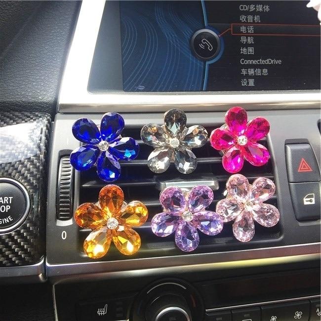 3 Pieces Creative Automobile Air Conditioning Luxurious Diamond Exquisite Cute Flower Car Export Perfume Interior Accessories