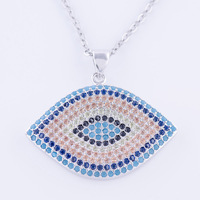 Hot Jewelry Vintage Zircon India Evil Eye Necklace For Women Men Handmade Copper Micro Pave Long